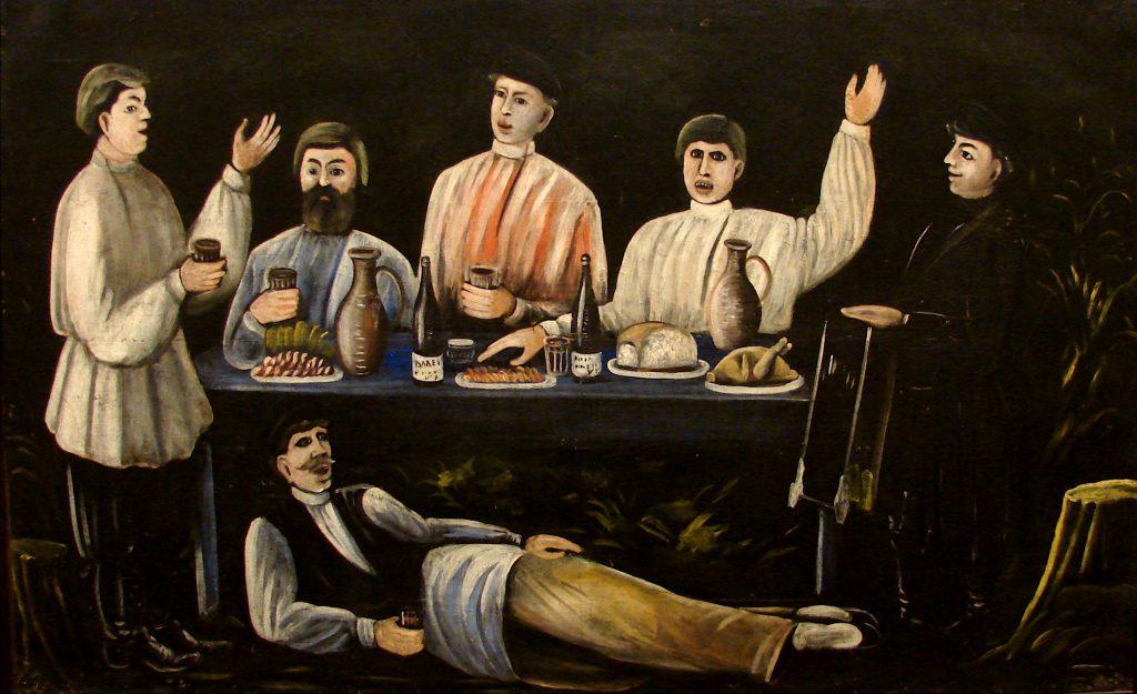 نقاشی قدیمی از مردم گرجستان و شراب